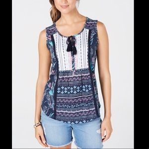 STYLE&CO LACE UP TASSELED TOP